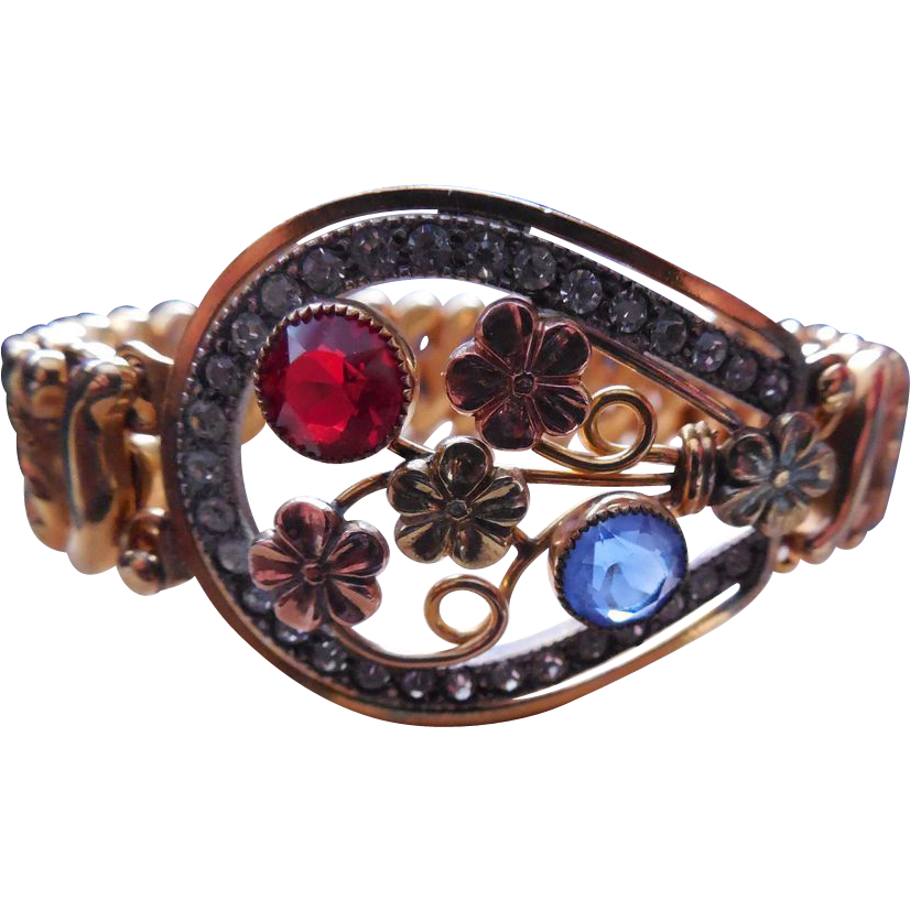 Vintage Signed Carmen Expansion Bracelet Tri Color Horseshoe Shape W Rhinestones