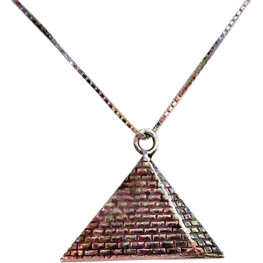 Sterling Silver Dimensional Pyramid Pendant Necklace
