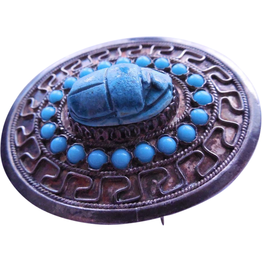 Silver Scarab Pendant Brooch - Egyptian Revival