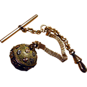 Antique Pocket Watch Chain With Vinaigrette Pendant Fob