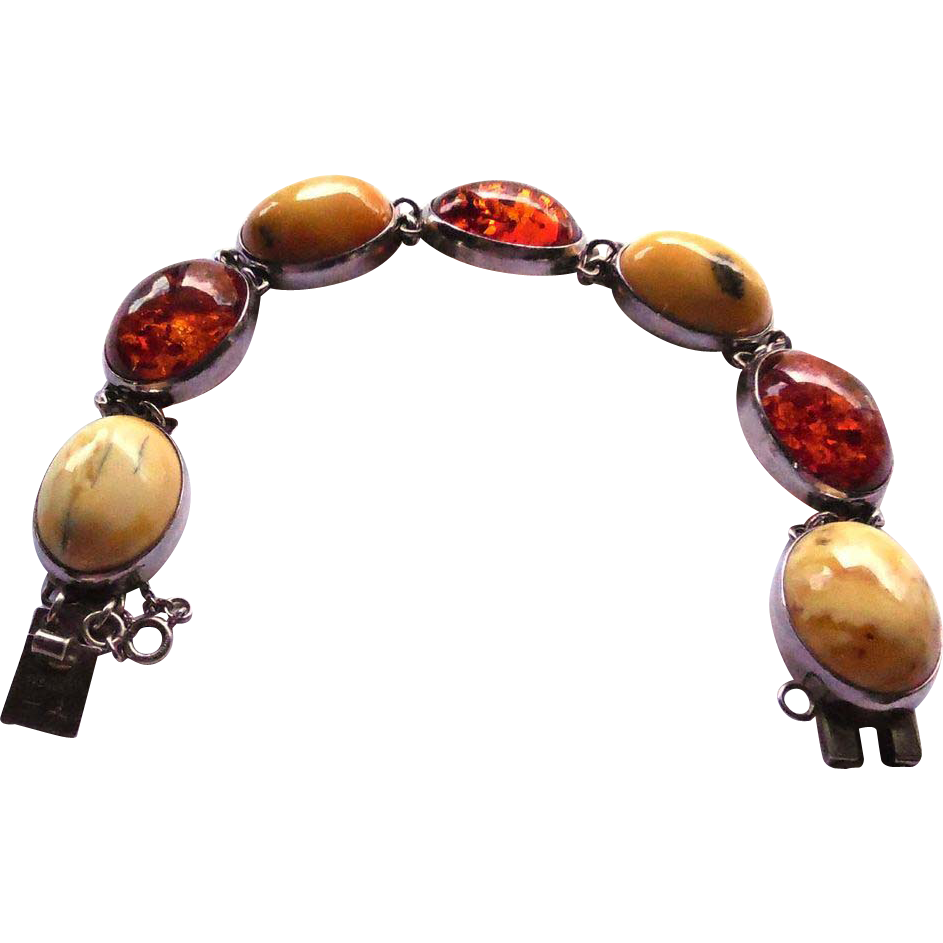 Vintage Egg Yolk And Honey Amber Bracelet - Sterling Silver 23.5 Grams