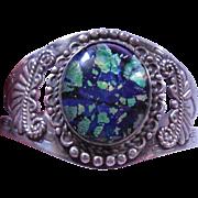 Southwest or Native Sterling Silver Bracelet Blue Green Glass Center