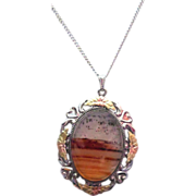Sterling Black Hills Gold Picture Agate Pendant With Seascape or Landscape Scene