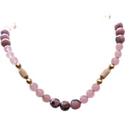 Beautiful Vintage 14K Gold Rose Quartz & Rhodonite Necklace