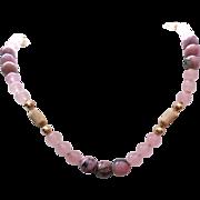 Beautiful Vintage 14K Gold Rose Quartz & Rhodonite Necklace