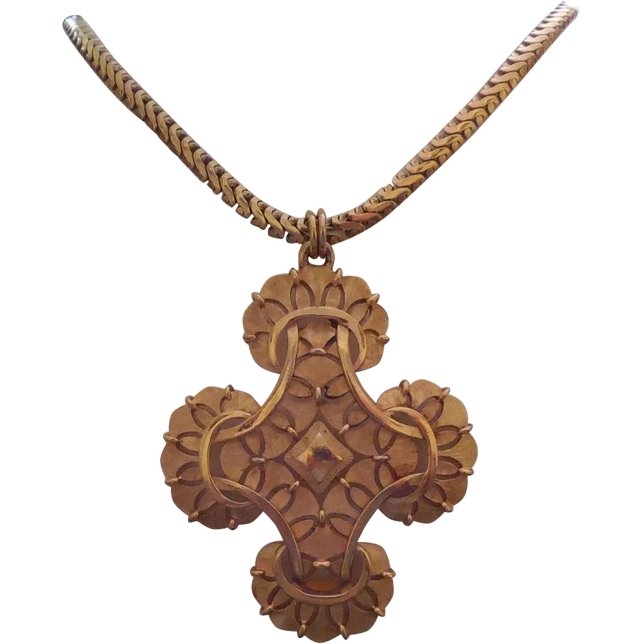 Huge Vintage Signed Trifari Cross Pendant on Beautiful Thick Chain