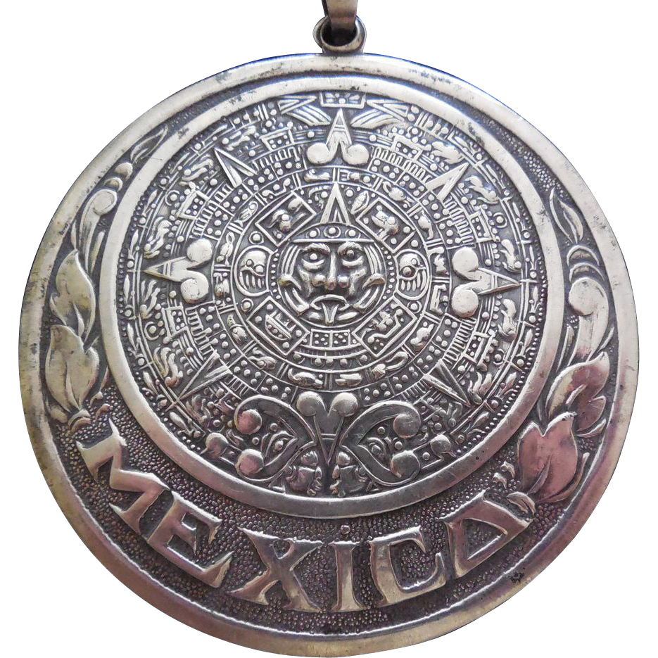 Large Sterling Silver Vintage Aztec Calendar Pendant With Border of Leaves and Mexico - Eagle 1 Mexico Circa 1950