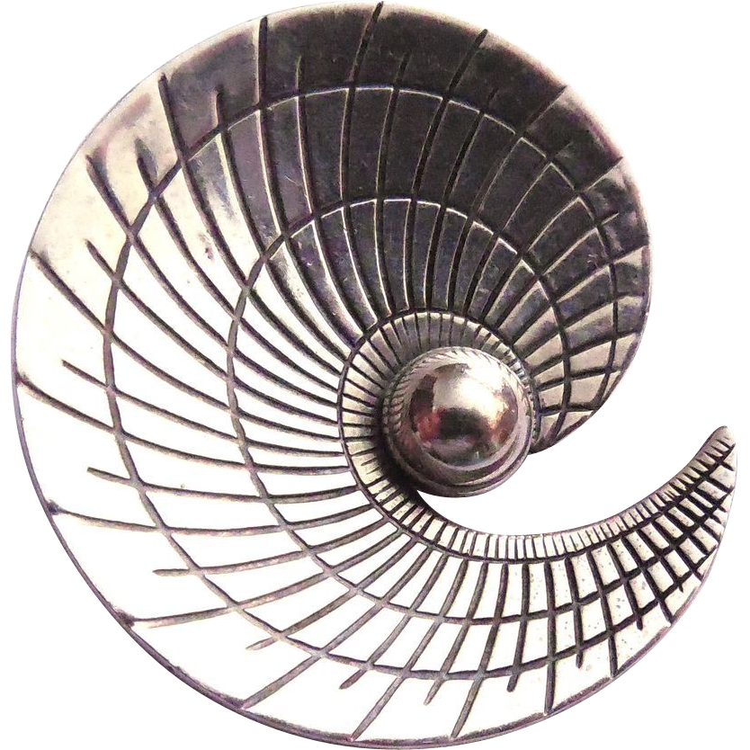 Sterling Silver Mid Century Danish Modern Spiral Brooch - Signed A&K