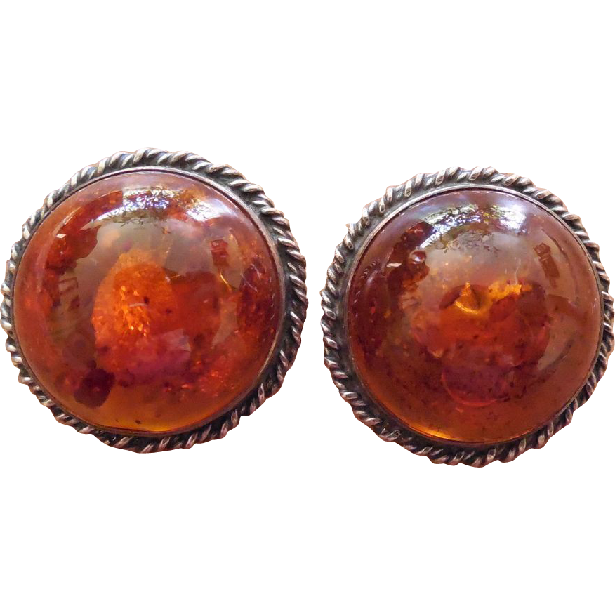 Vintage Sterling Silver And Amber Dome Shaped Earrings