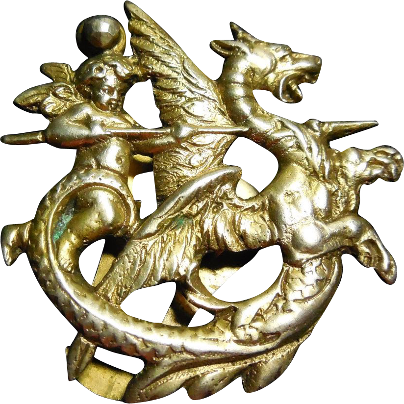 Rare Art Deco Era Signed Coppini 800 Silver Angel Slaying Dragon Clip - Putti Cherub