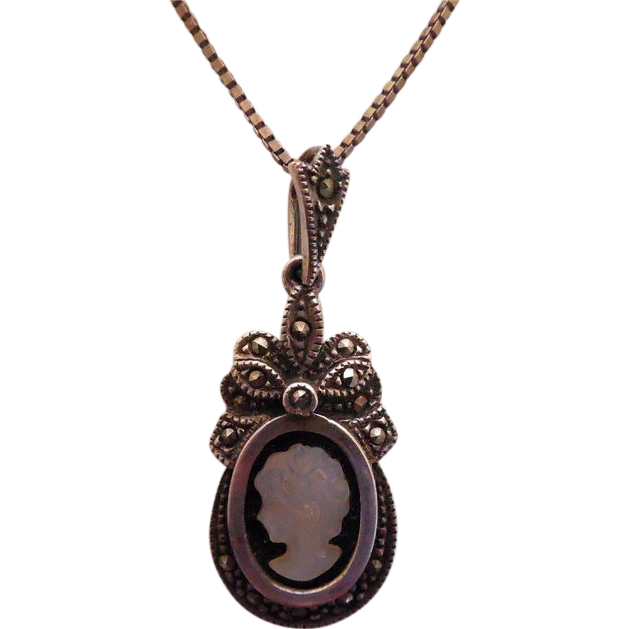 Beautiful Vintage Sterling Silver Marcasite Cameo Necklace