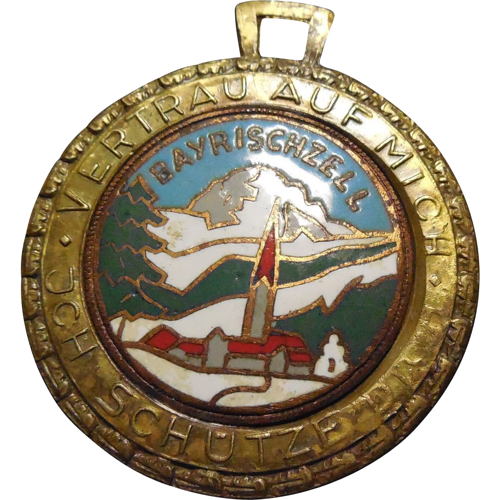 Rare Vintage Saint Christopher Bayreschzell Germany Medal Fob Enamel Trust In Me