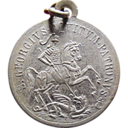 Rare Vintage Saint George Slaying The Dragon Medal - Latin Inscription