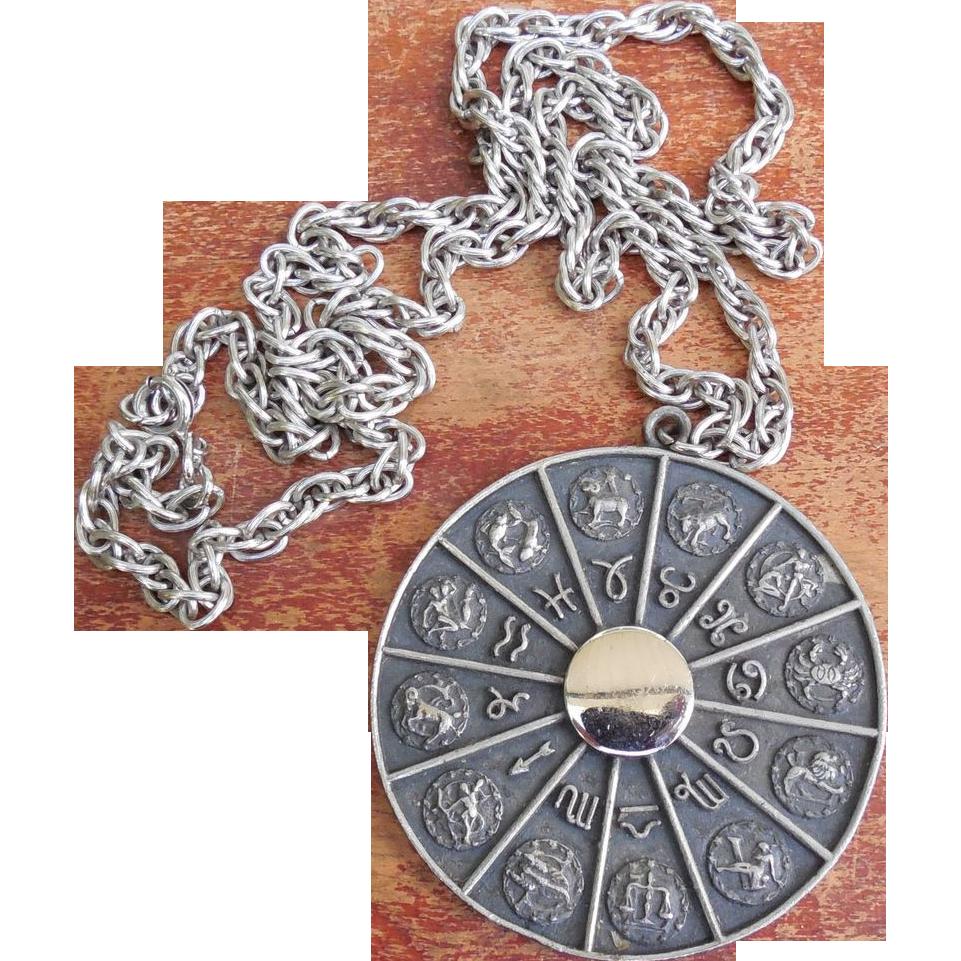 Signed Napier Large Zodiac Necklace - Vintage 1960's