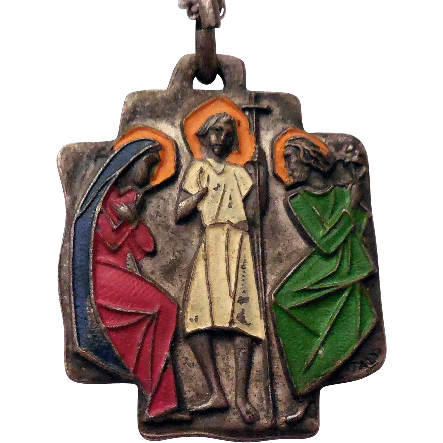 Vintage Italy Religious Medal - St Christopher, Holy Family - Cold Paint Enamel