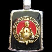 Vintage 1960s Buddha Happiness Peace Pendant Enamel Lucite