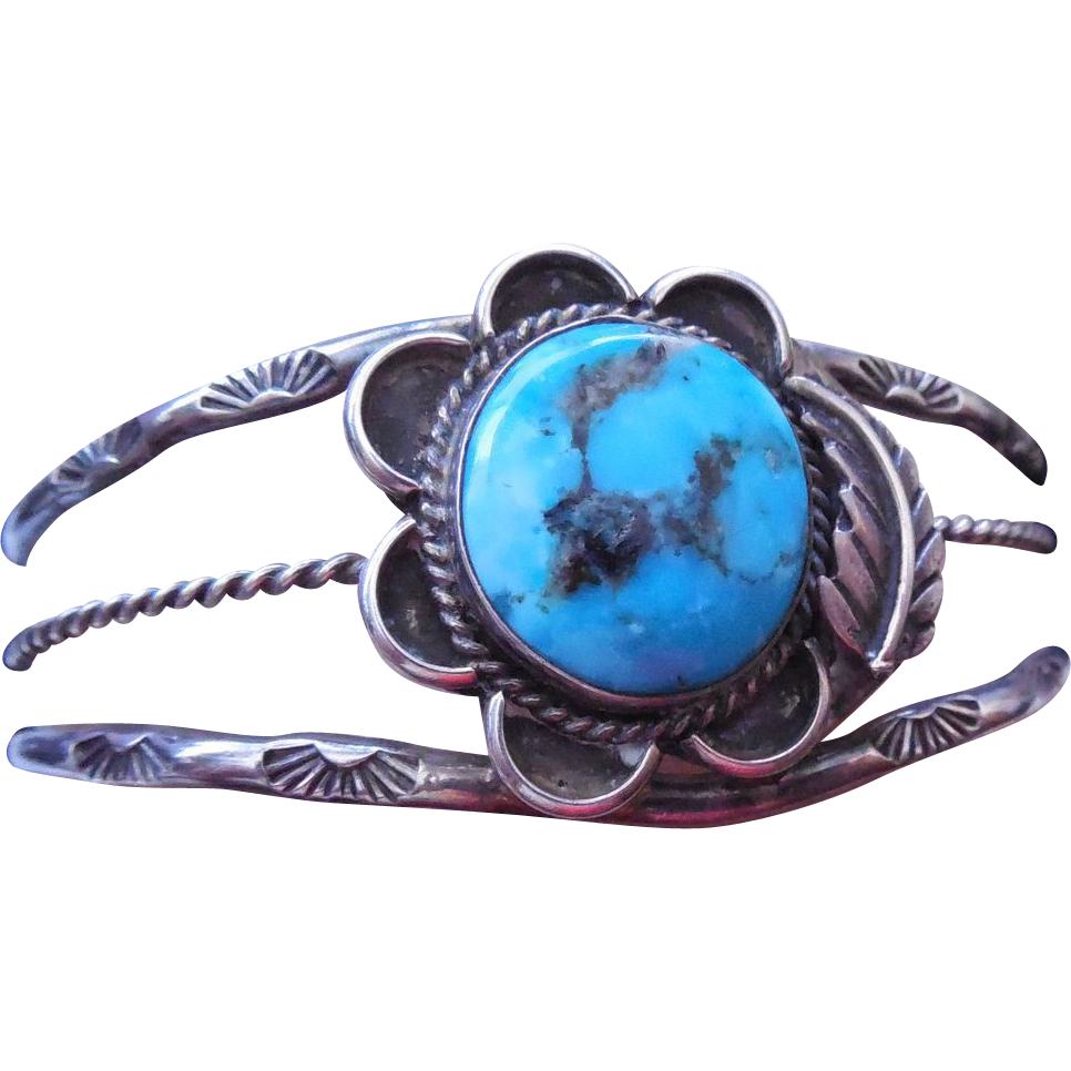 Turquoise Native American Bracelet - Leaf and Rising Sun Stampings