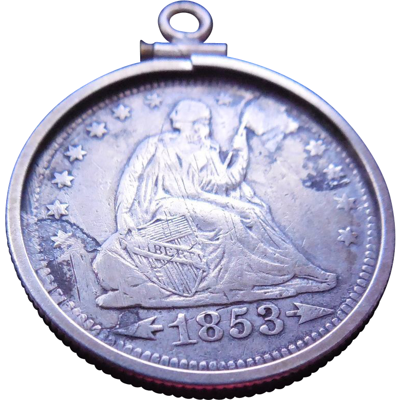 Victorian Love Token Initials MCB - 1853 Seated Liberty Quarter Arrows In Sterling Holder