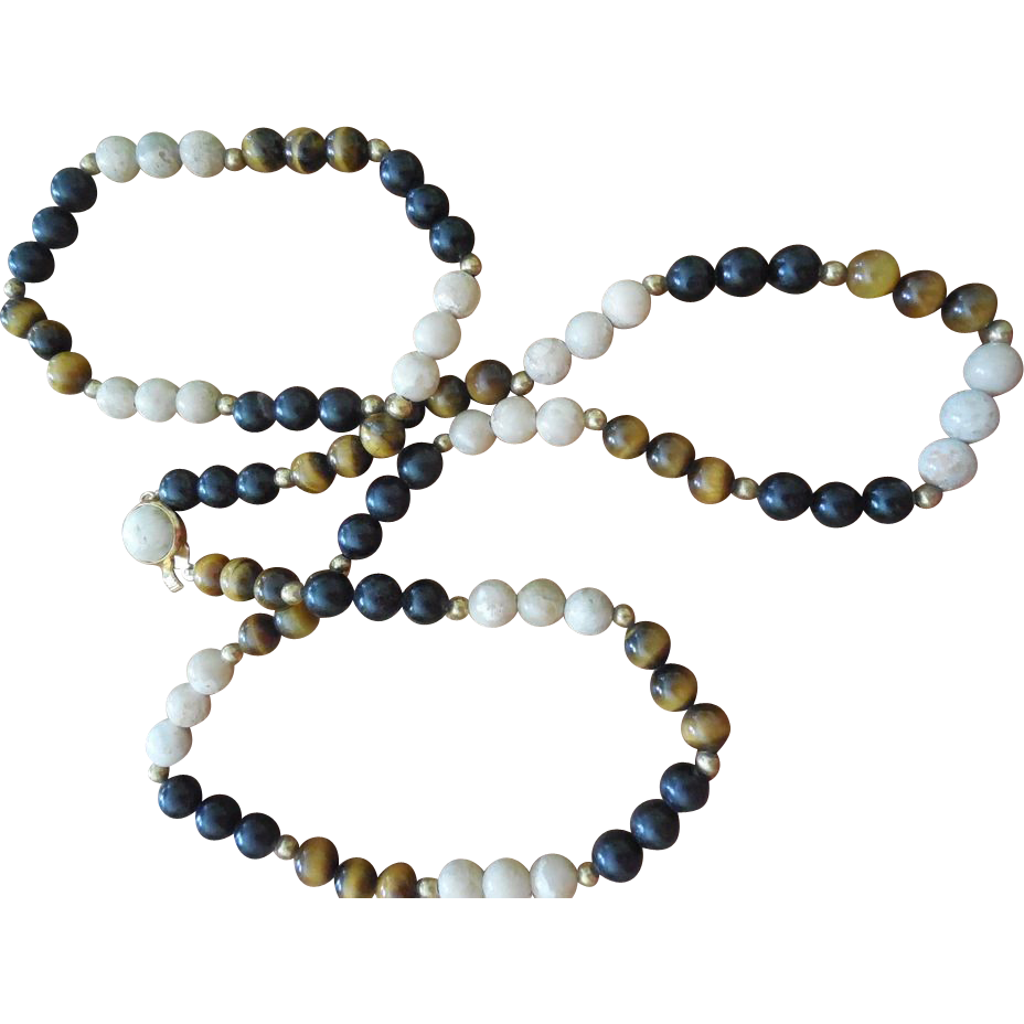 Vintage Natural Stone Necklace - Tigers Eye, Onyx, and Marble