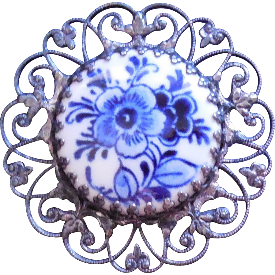 Vintage Filigree Silver and Blue and White Porcelain Brooch Pendant