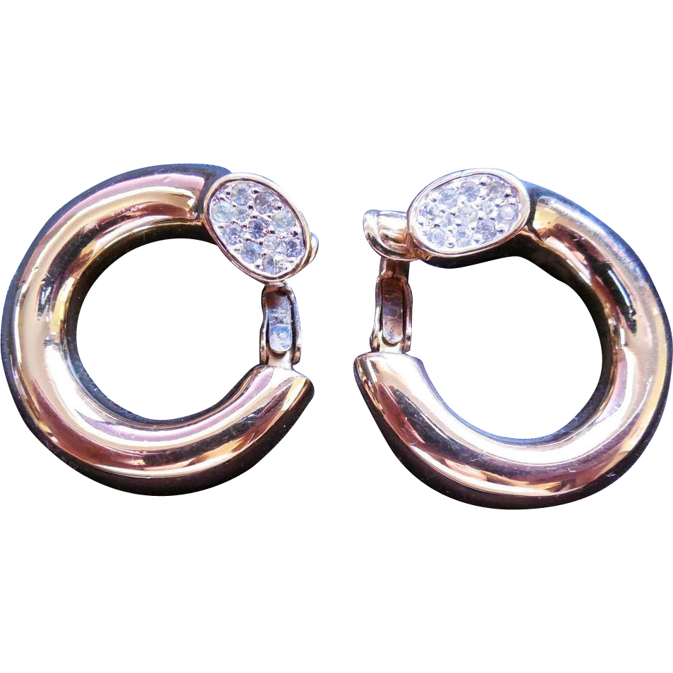 Gorgeous Signed Panetta Earrings - Golden Circles With Crystals