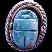 Vintage Scarab Ring - Blue Scarab in Silvertone Adjustable Size Band