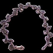 Signed Judith Jack Sterling Silver Marcasite Crystal Bracelet