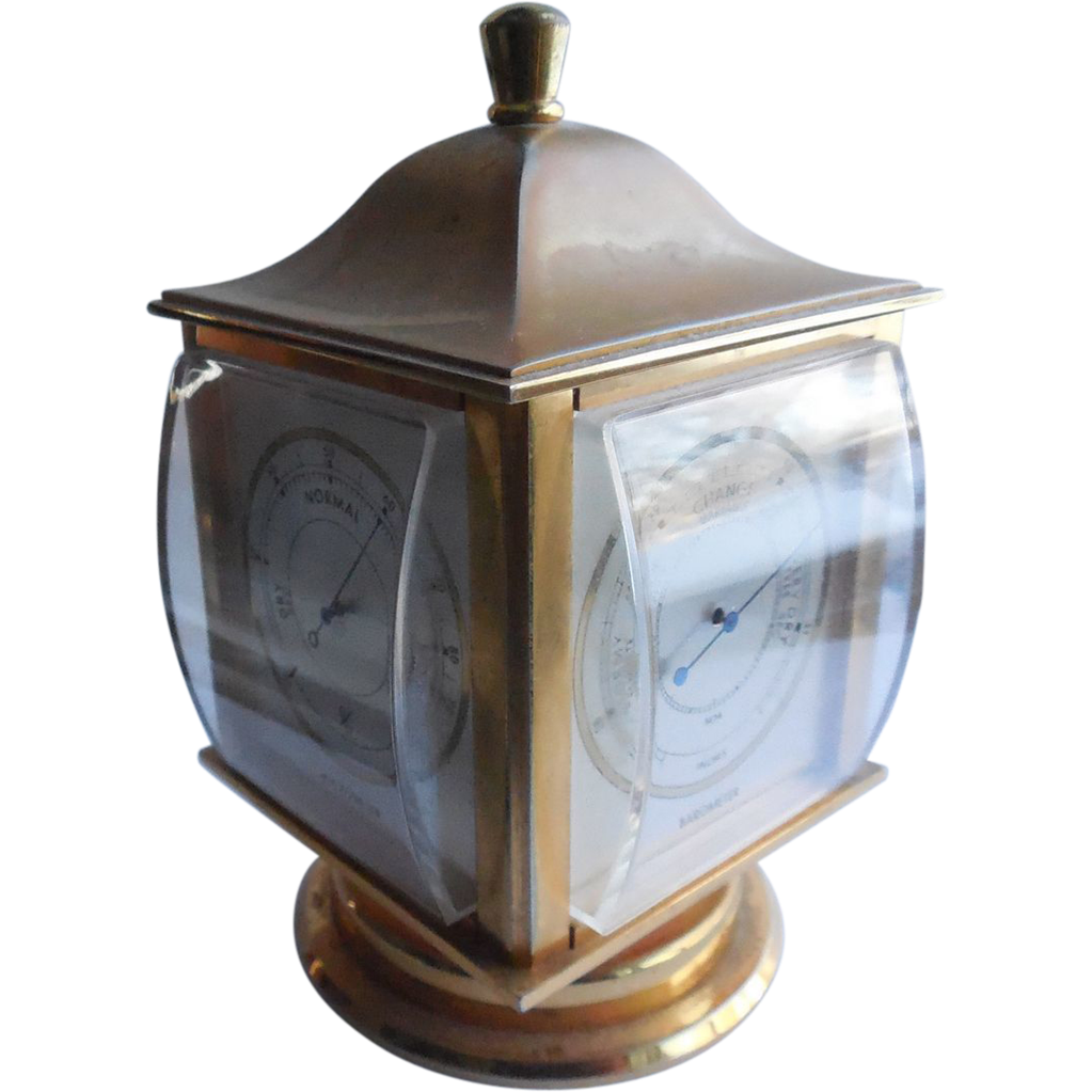 Vintage Angelus 4 Face Weather Station Clock Time Temp Barometer Hygrometer