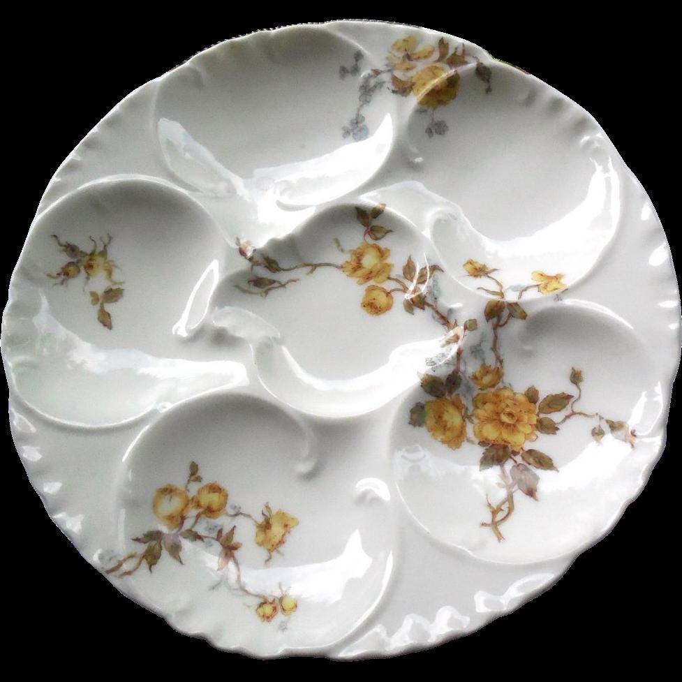 Antique Oyster Plate - Haviland Limoges France - Porcelain With Flowers