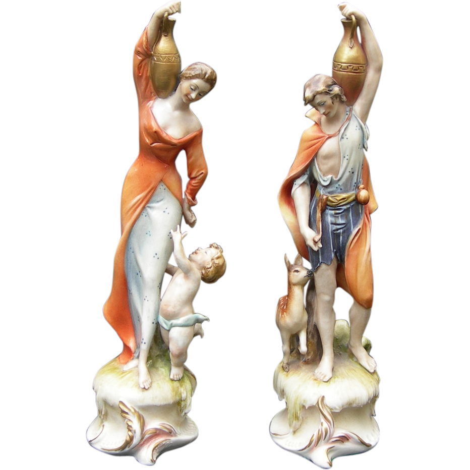 Lovely Antonio Borsato Paired Figures - Aphrodite & Dionysios Holding Jugs With Child and Deer