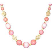 Fabulous French Glass and Galalith Bead Necklace - Pink And White