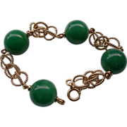 Magnificent 14K European Gold Bracelet With Large Green Stones