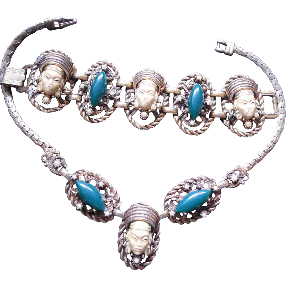 Selro Selini Asian Princess Set - Necklace and Bracelet Circa 1950s