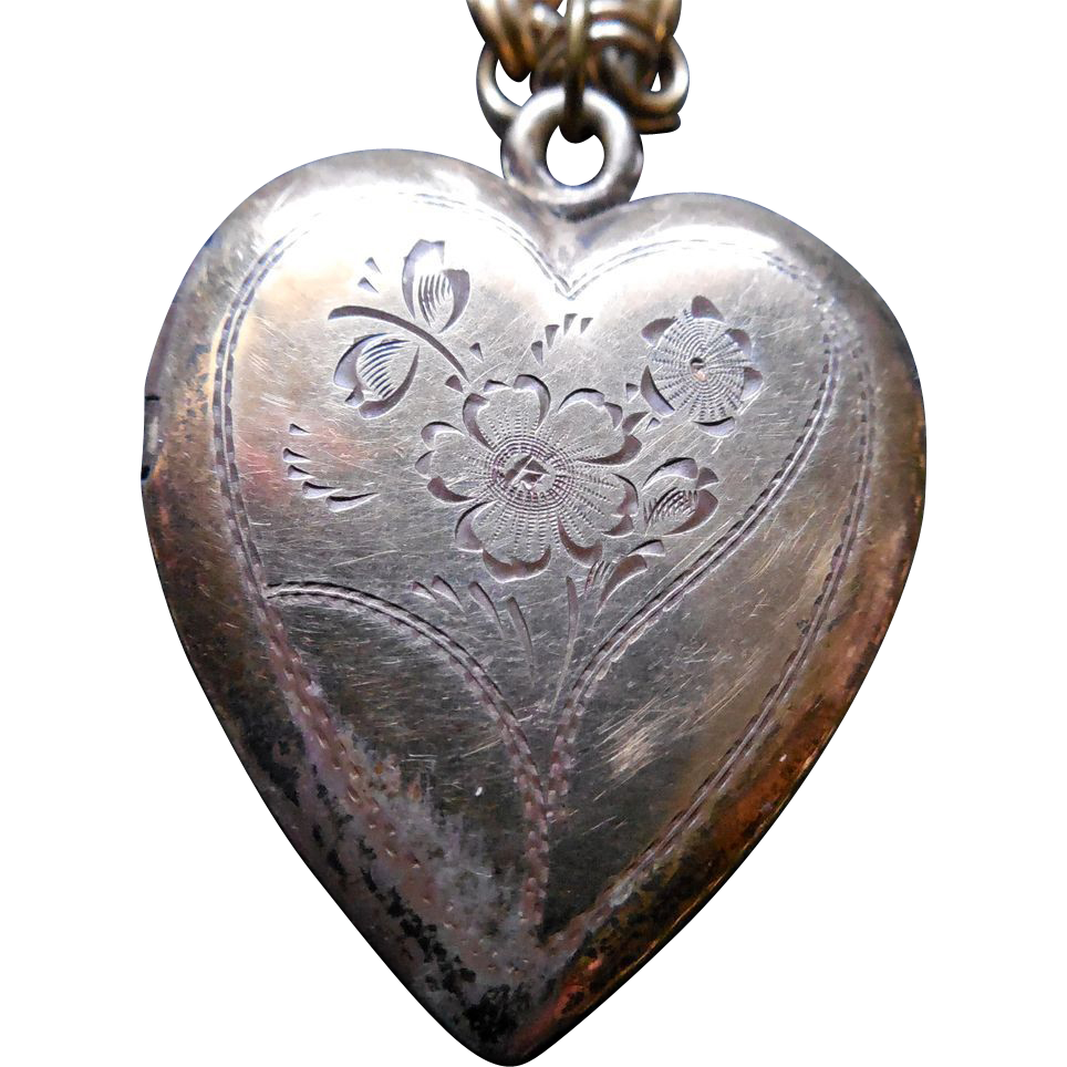 Lovely Vintage Locket 1/20 10K Gold Fill On Sterling Silver - With Two Photos