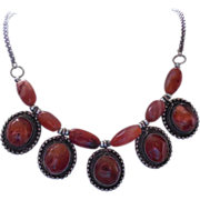 Vintage Carnelian Necklace - Lovely Orange Stones in a Beautiful Setting