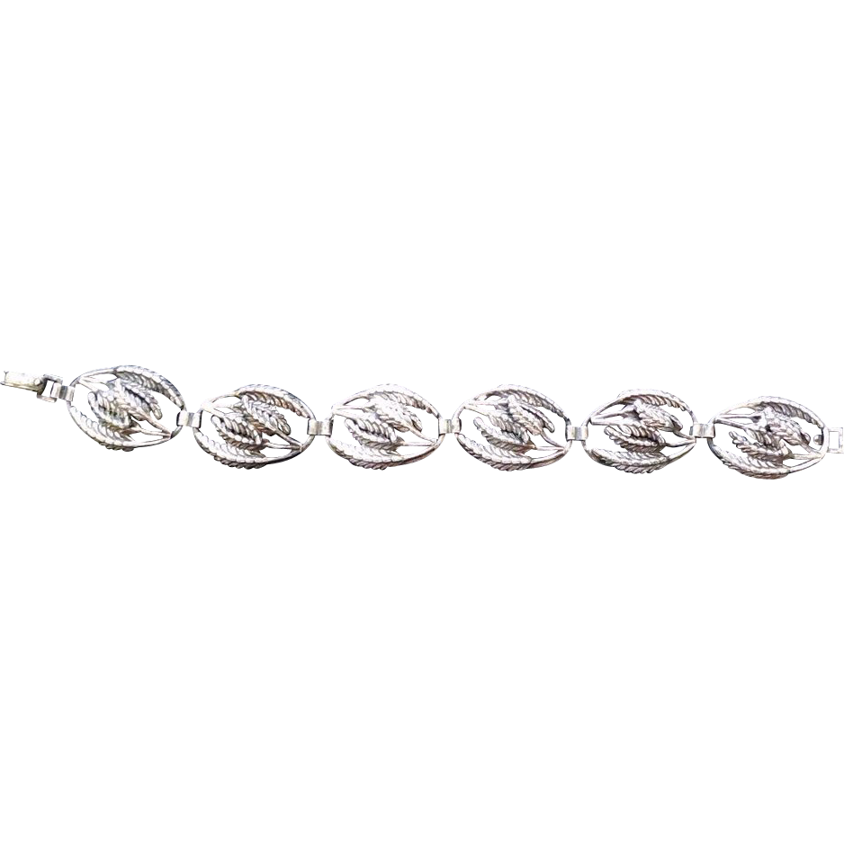 Vintage Sterling Silver Fern Bracelet - Six Oval Links