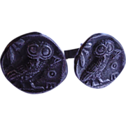 Signed Alva Studio Faux Ancient Greek Coin Cufflinks With Owls