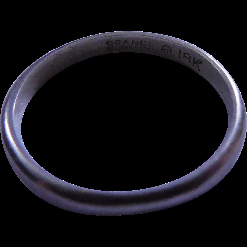 Vintage 18k Gold Ring Signed Orange Blossom - White Gold Wedding Band - Size 4