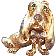Vintage Signed Craft Hound Dog Brooch - Rhinestone Eyes and Nose