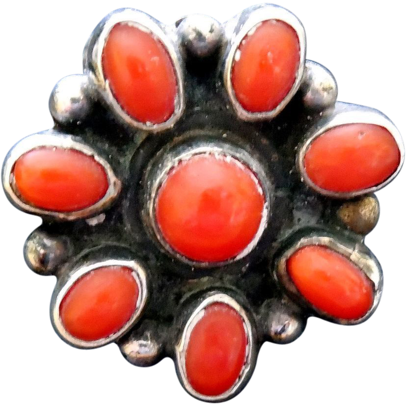 Vintage Native American Coral Ring - Silver Setting - Red Stones - Size 6