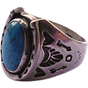 Signed Vintage Native American Ring - Sterling Silver With Turquoise Stone, Horseshoe and Stampings