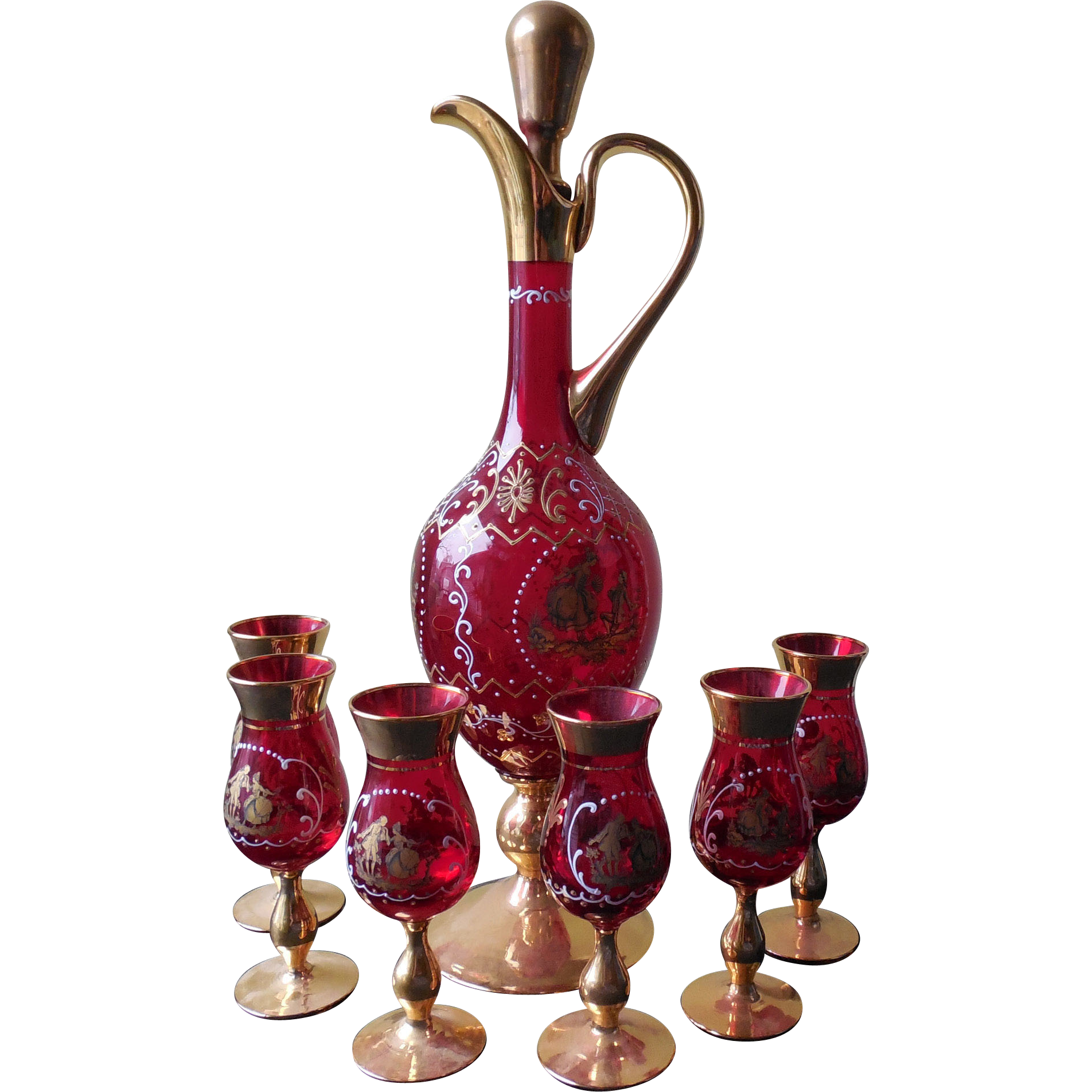 Vintage Red and Gold Cordial / Liquor Set - Rococo Scene with Fragonard Courting Lovers
