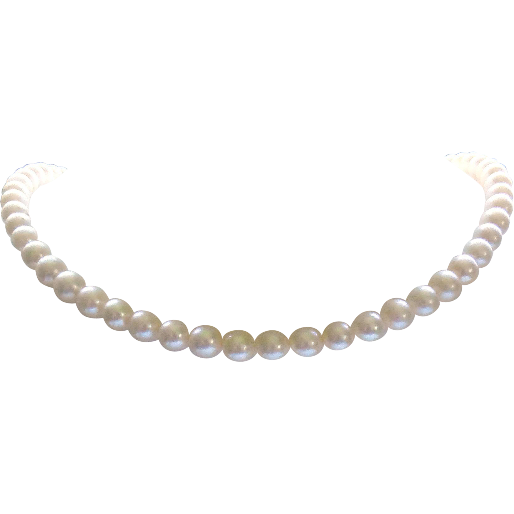 "Vintage Cultured Pearl Necklace With 14K Gold Clasp - 15"" Long / 6.5mm Pearls"