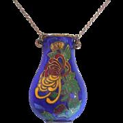 Lovely Cloisonne Enamel Over Brass Urn or Vase Necklace On 12/20 K Gold Filled Chain