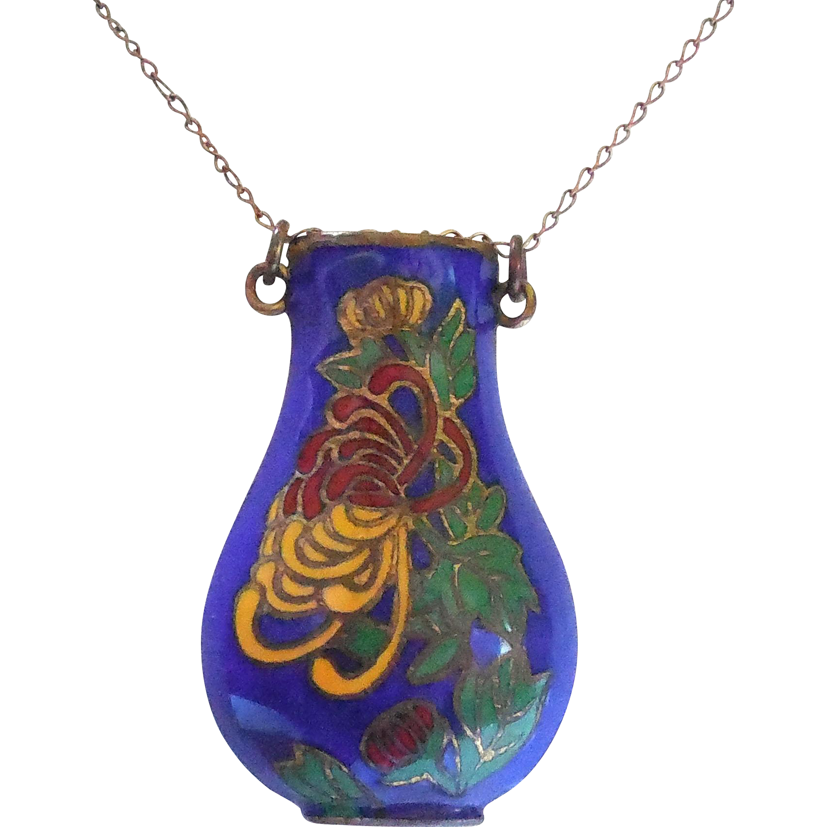 Lovely Cloisonne Enamel Over Brass Urn or Vase Necklace On 12/20 K Gold Filled Chain