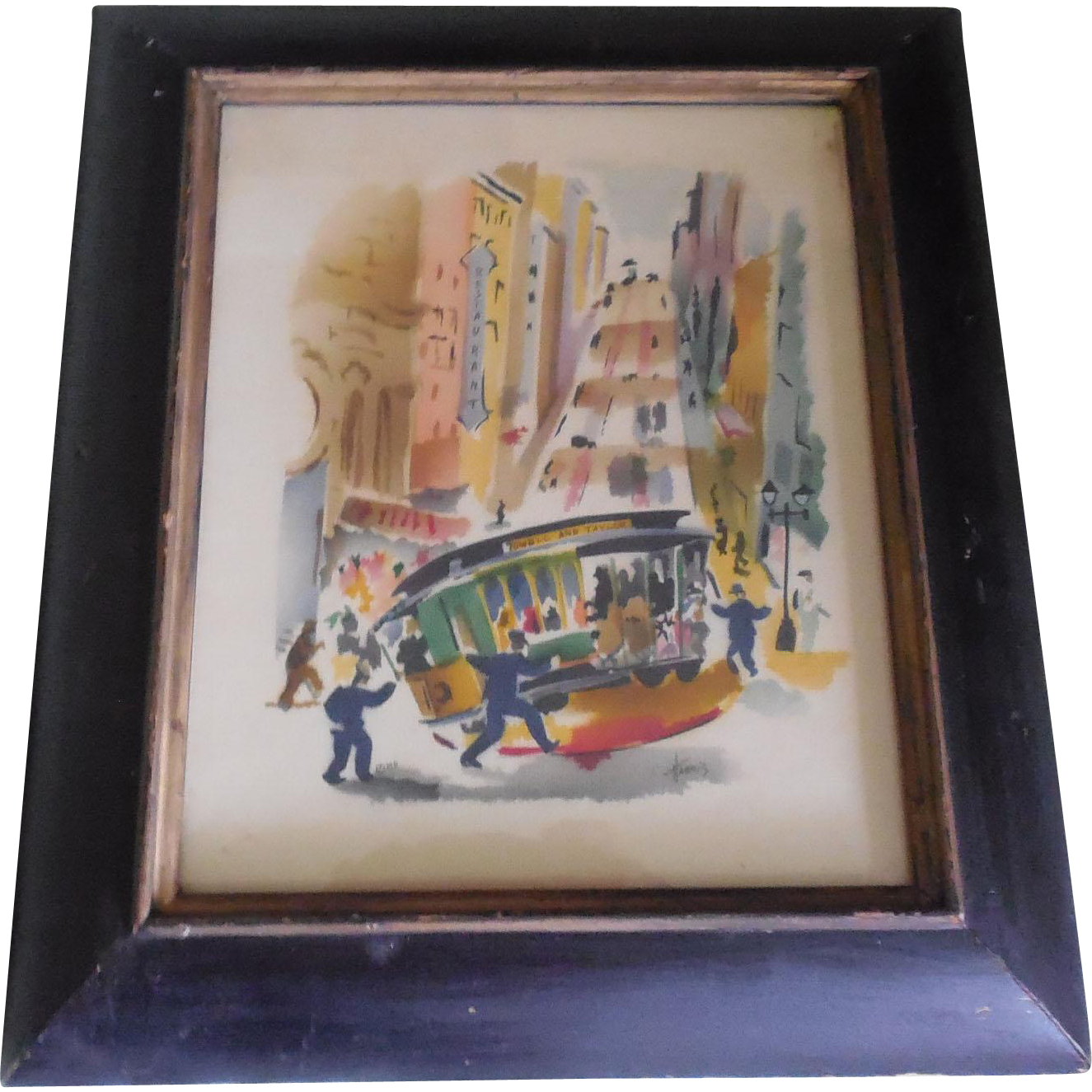 Benjamin Jorj Harris Airbrush Watercolor San Francisco Iconic Cable Car Scene
