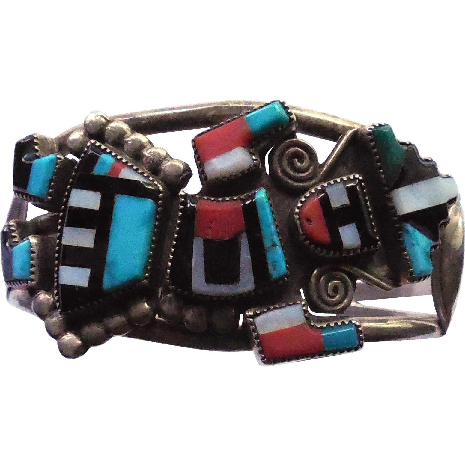 Native American Zuni Rainbow Dancer Bracelet by Gillerimo & Betty Natachu