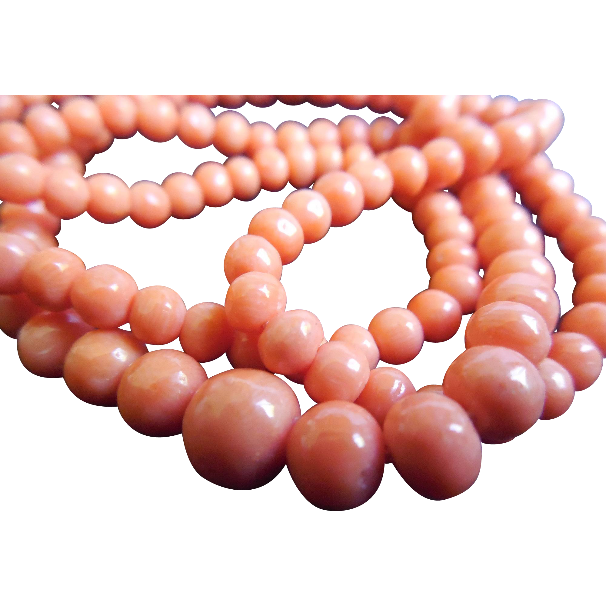Gorgeous Older Salmon Coral Necklace - 14K Gold Clasp