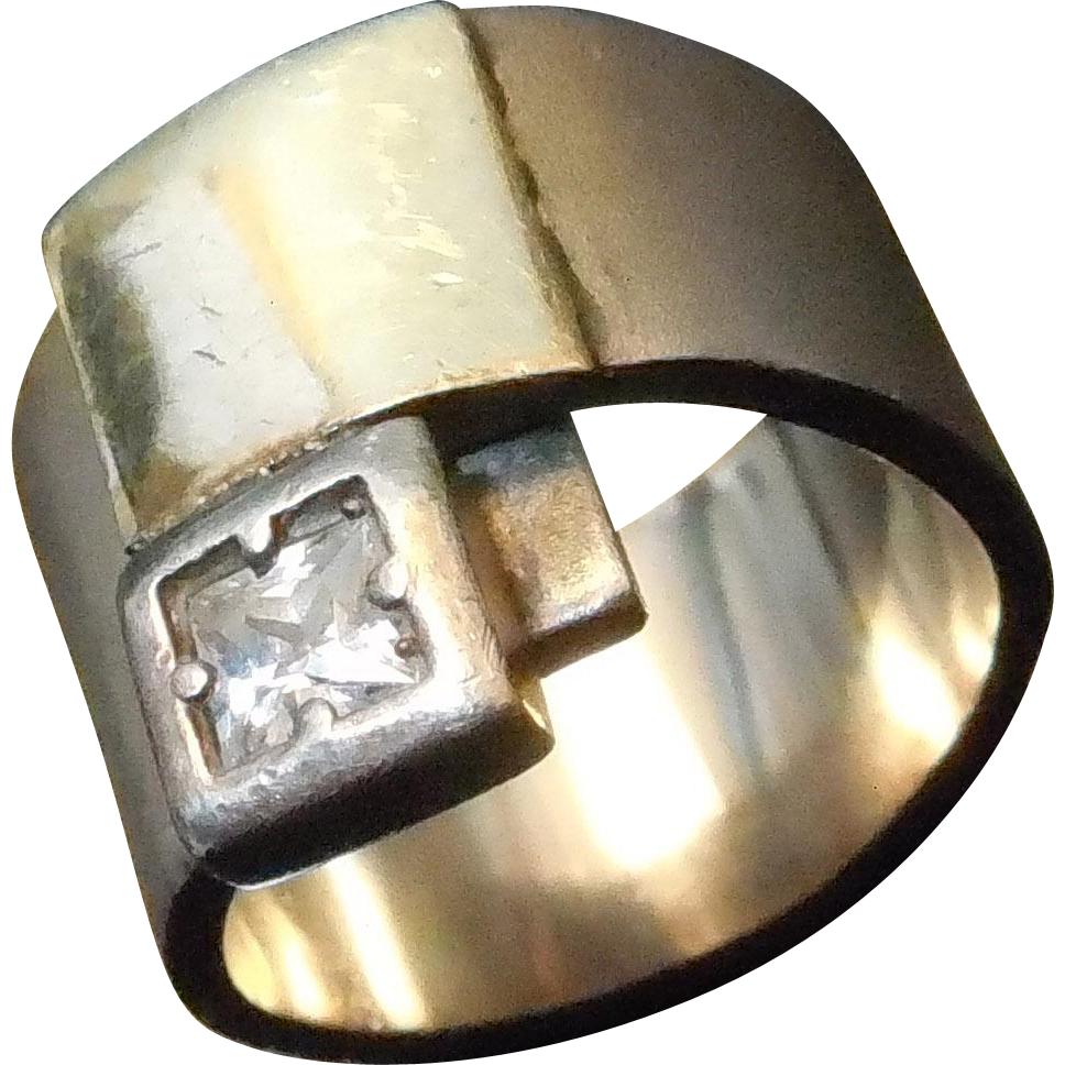 14K & Sterling Silver Wide Ring With Clear Stone - Two Tone Gold and Silver