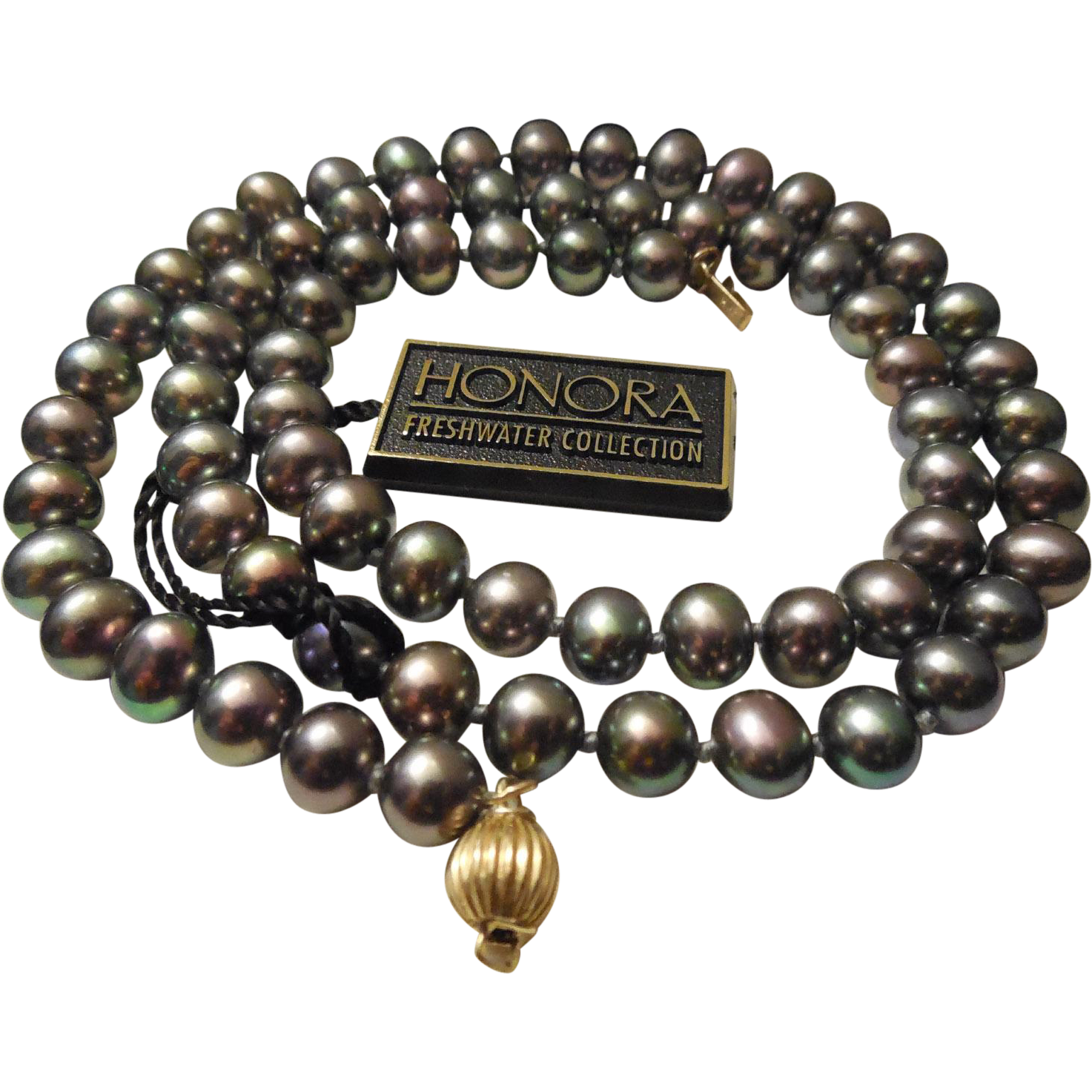 14K & Black Pearl Necklace - Honora Freshwater Collection With Tag